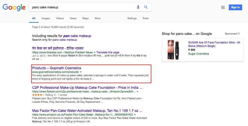 Makeup Cosmetics Client Google Ranking