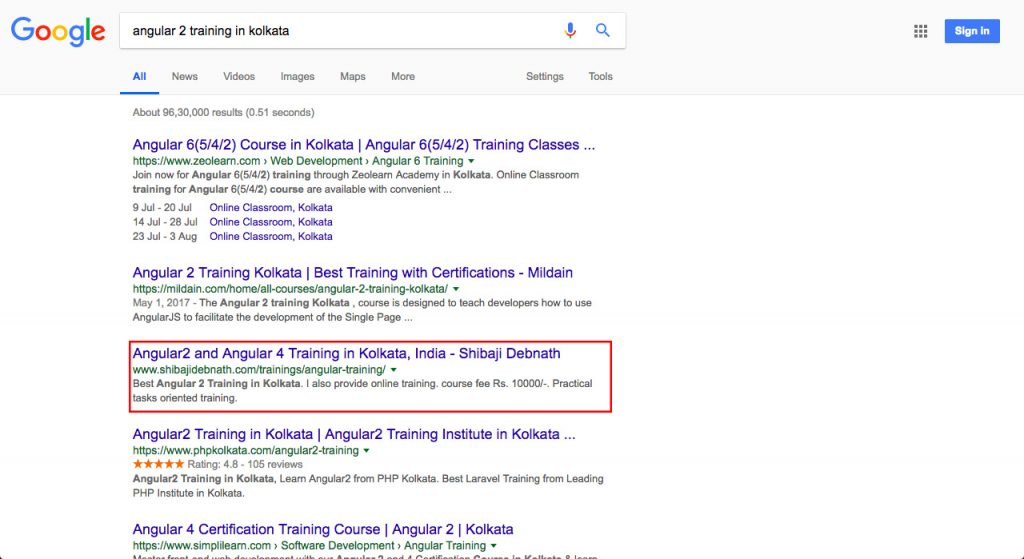 Software Development Training Client Google Ranking