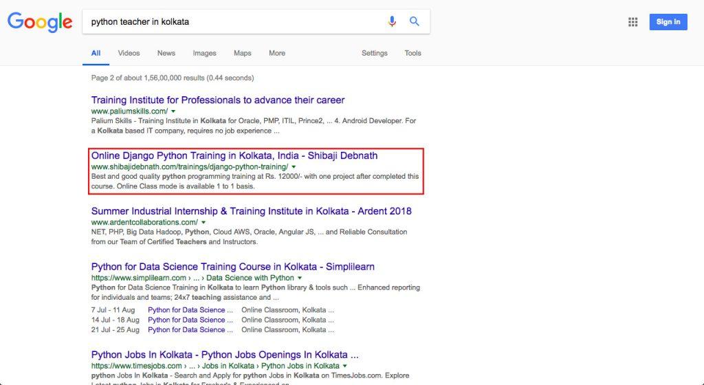 Software Development Training Client Google SEO Ranking