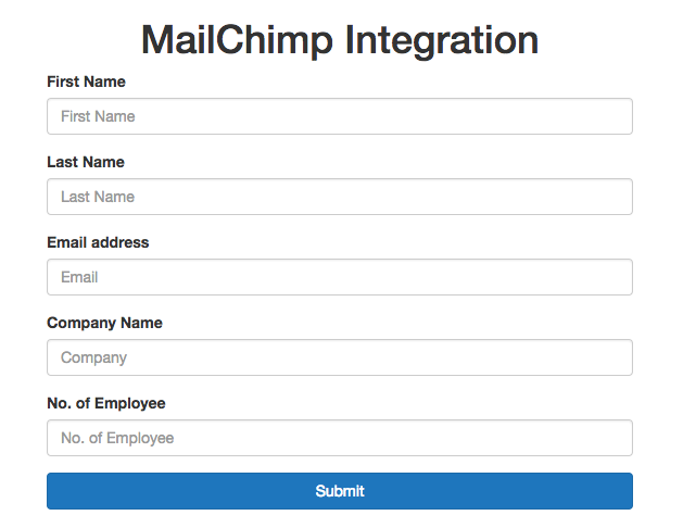 HTML Form for MailChimp API Integration in PHP