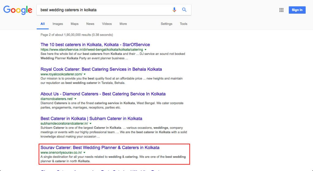 Caterer & Wedding Planner SEO Client Ranking