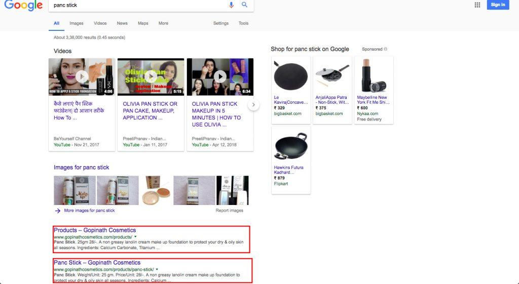 Makeup Cosmetics Client Google Ranking
