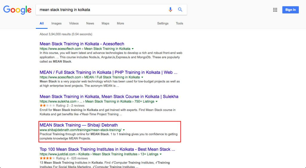 Software Development Training Client Google Ranking