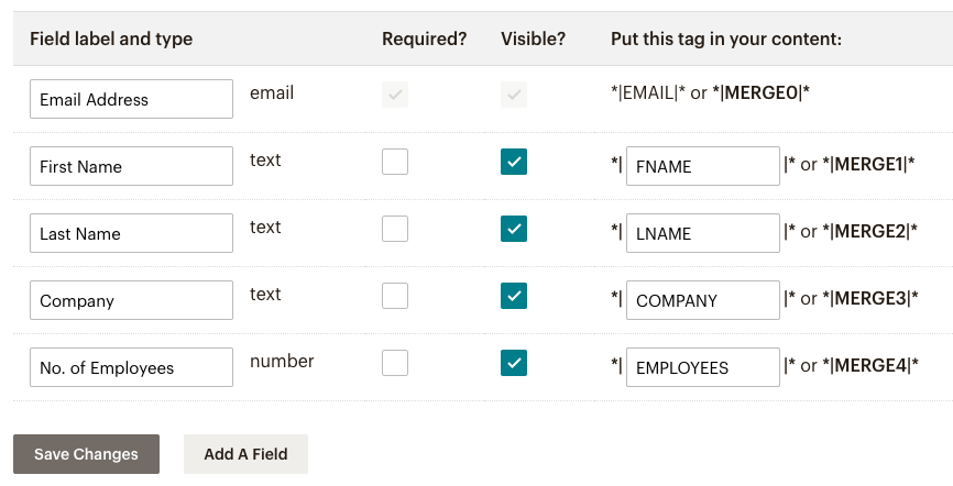 Custom Fields - MailChimp API Integration in PHP